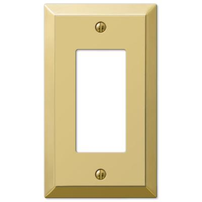 Metallic 1 Gang Rocker Steel Wall Plate - Polished Brass