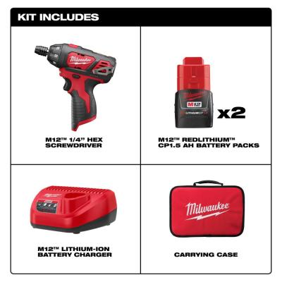 M12 12-Volt Lithium-Ion Cordless 1/4 in. Hex Screwdriver Kit with SHOCKWAVE Driver Bit Set (45-Piece)