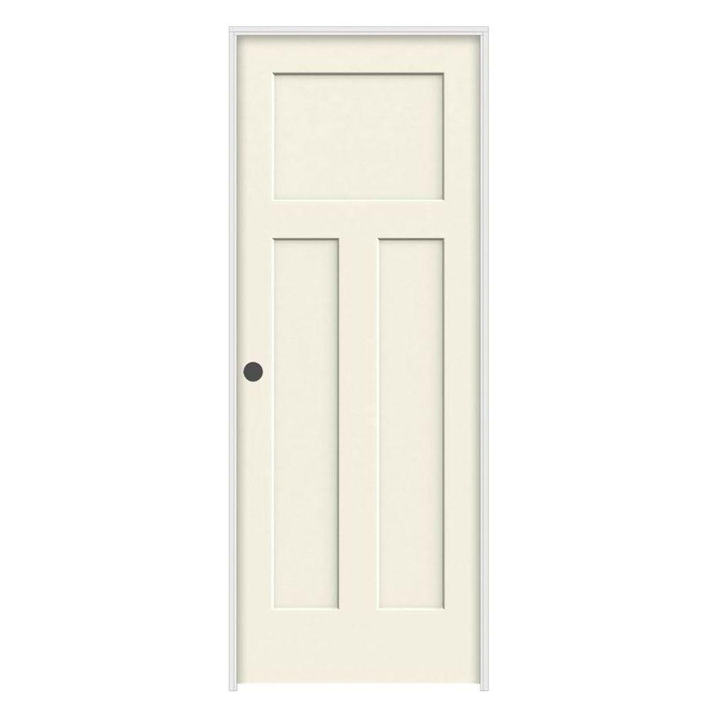 28 in. x 80 in. Craftsman Vanilla Painted Right-Hand Smooth Molded