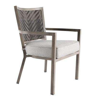 Demeter Aluminum Outdoor Dining Arm Chair with Grey Cushions (4-Pack)