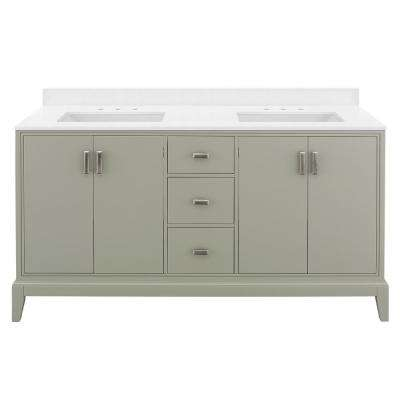 Shaelyn 61 in. W x 22 in. D Bath Vanity in Sage Green with Engineered Marble Vanity Top in Snowstorm with White Basins