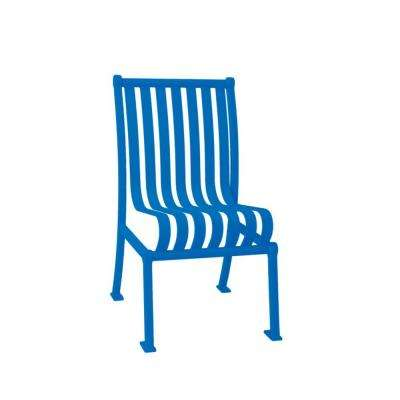 Hamilton Blue Portable Vertical Slats Commercial Park Patio Chair with No Arms Surface Mount