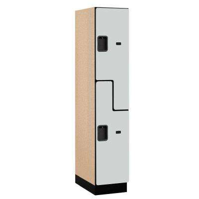 27000 Series 2-Tier 'S-Style' Wood Extra Wide Designer Locker in Gray - 15 in. W x 76 in. H x 21 in. D