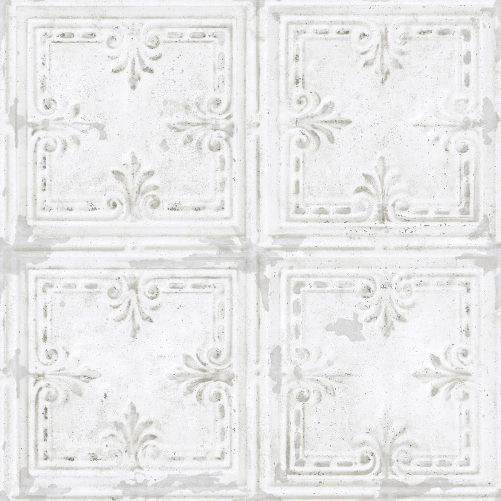 RoomMates RoomMates 28.18 sq. ft. Tin Tile White Peel and Stick Wallpaper