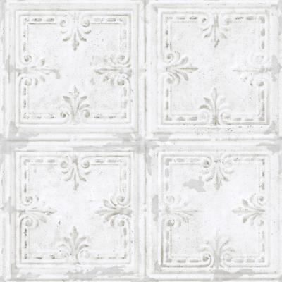28.18 sq. ft. Tin Tile White Peel and Stick Wallpaper