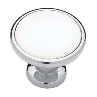 Classic 1-1/4 in. (32mm) Polished Chrome with White Ceramic Insert Round Cabinet Knob
