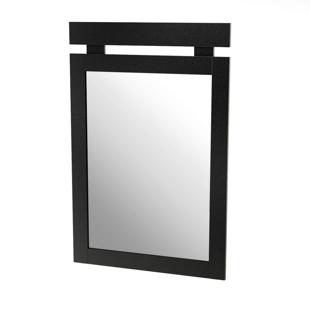 South Shore Spectra 43 in. x 29 in. Pure Black Framed Mirror-DISCONTINUED