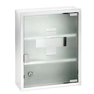 Medicine Assembled 11.8 in. x 15.8 in. x 4.7 in. Stainless Steel Surface-Mount Wall Chest with Lock