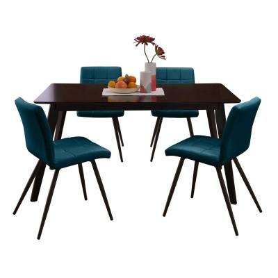 Windsor 5-Piece Dining Set with Espresso Rectangle Table and Armless Upholstered Dining Chairs in Caribbean Blue Fabric