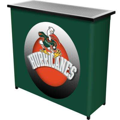 University of Miami Honeycomb 2-Shelf Green Bar with Case