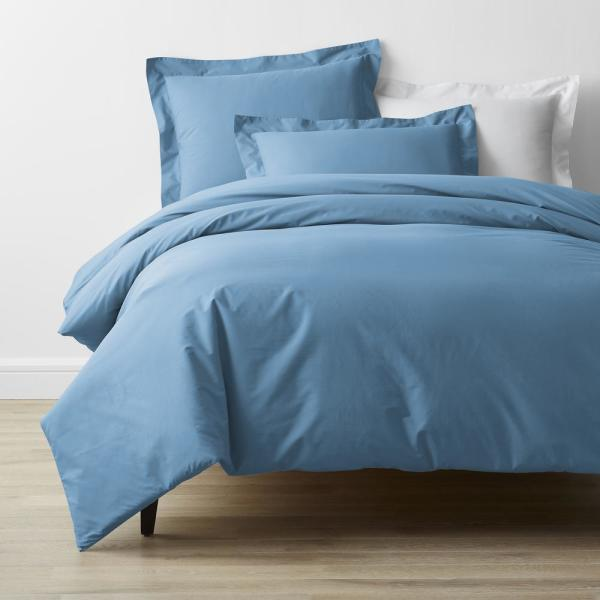 The Company Store Company Cotton 4 Piece Porcelain Blue Solid 300 Thread Count Cotton Percale Full Sheet Set 50652l F Porblue The Home Depot