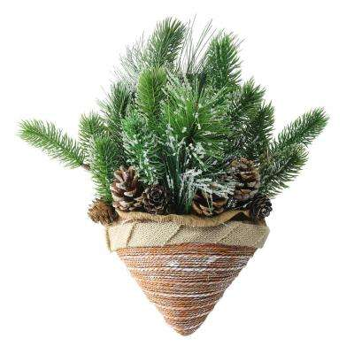 12 in. Iced Pine Cones and Branch Tips in Burlap Basket Hanging Christmas Decoration