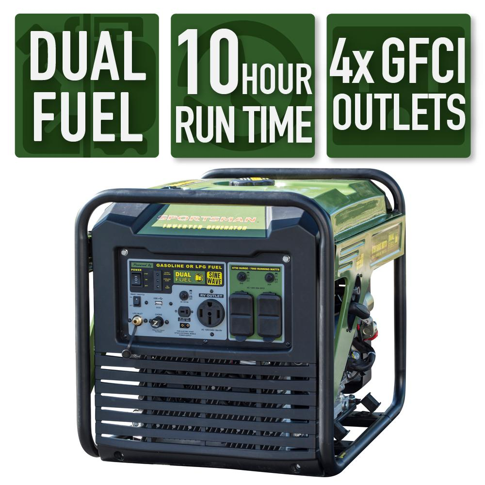 Sportsman 8,750/7,000-Watt Dual Fuel Digital Inverter Generator with 50 Amp RV Outlet, USB Port and 4 GFCI 120-Volt Outlets was $1999.0 now $1069.0 (47.0% off)