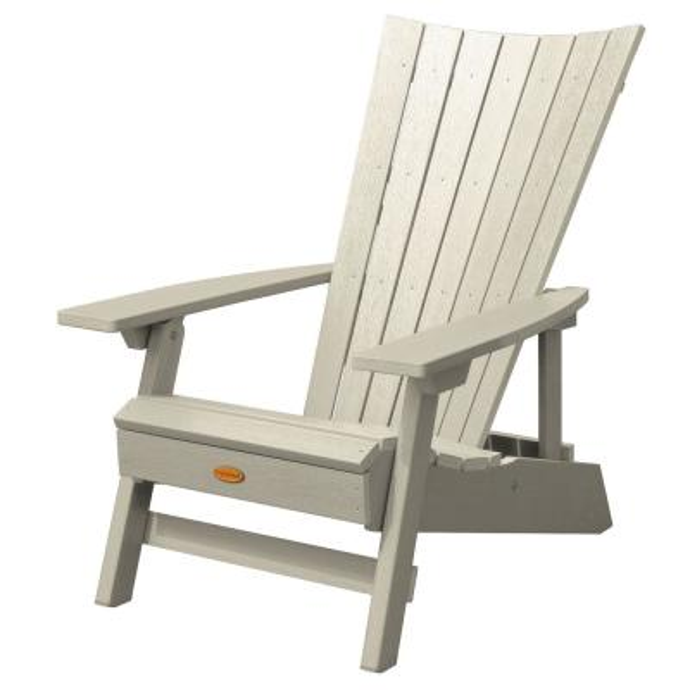 Manhattan Beach Whitewash Folding and Reclining Recycled Plastic Adirondack Chair