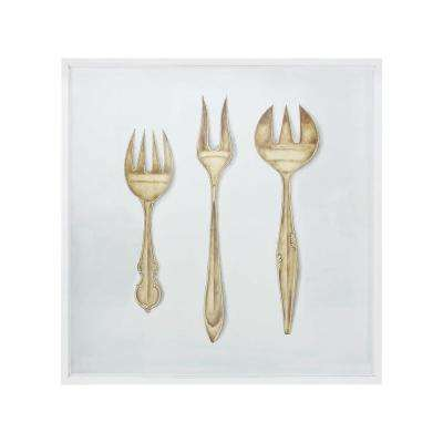 "51 in. x 51 in. ""Formal Forks in Gold"" Hand Painted Framed Canvas Wall Art"