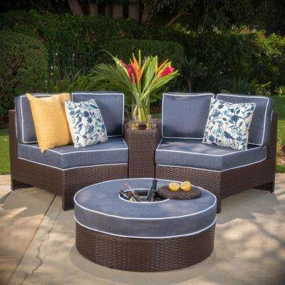 4-Piece Wicker Patio Sectional Seating Set with Navy Blue Cushions