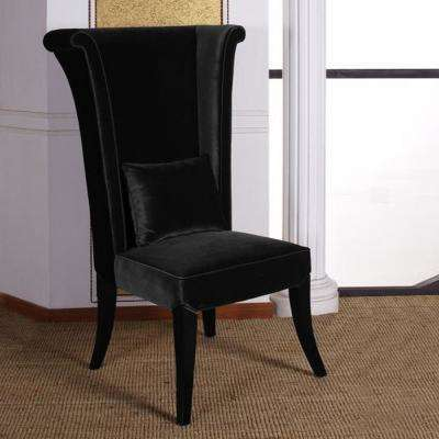 Mad Hatter 52 in. Black Velvet and Black Wood Finish Dining Chair