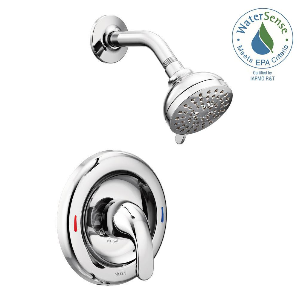 one piece shower faucet. MOEN Adler 1 Handle Spray Shower Faucet with Valve in Chrome