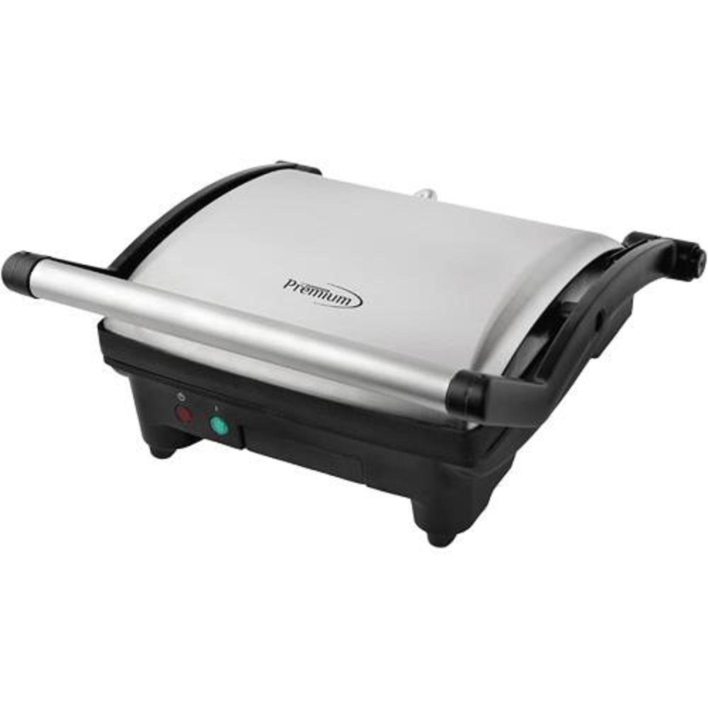4-Slice Panini Press and Indoor Grill, Silver And Black PREMIUM 4-Slice Panini Press and Indoor Grill provides the versatility of both a sandwich maker and an indoor grill surface. With one unit, users can make the perfect sandwich or your favorite grilled foods such as steak, chicken, burgers, fish or grilled vegetables. The Non-Stick Coated Plates and Removable Drip Tray make for easy cleaning. The Adjustable Top Plate can accommodate all sizes from the smallest kids sandwiches to large stacks with all your favorite deli meats or vegetables. Plus, with the Grill open 180° to Lie Flat, users have plenty of cooking surface to make entire meals or cook for the whole family at once. The convenient countertop size fits in any kitchen the perfect way to grill in your Home, Office, Man-Cave or She-Shed. Color: Silver and Black.