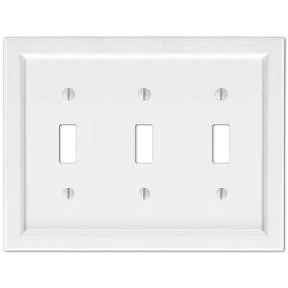 Woodmore 3 Gang Toggle Wood Wall Plate - White