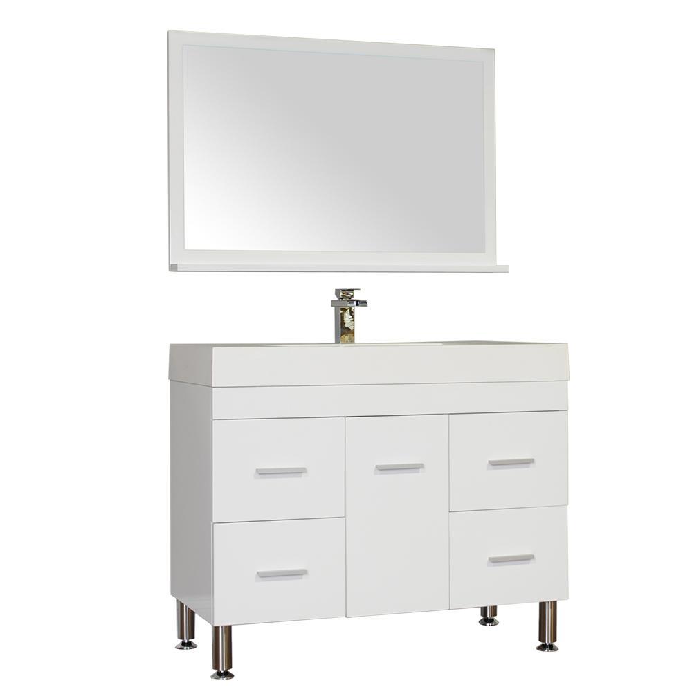 Ripley 39.25 in. W x 18.75 in. D x 33.12 in. H Vanity in White with Acrylic Vanity Top in White with White Basin