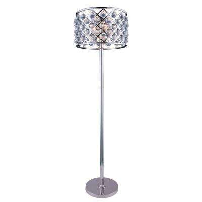 Madison 72 in. Polished Nickel Floor Lamp with Clear Crystal