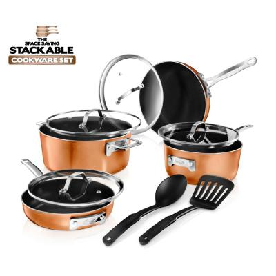 StackMaster 10- Piece (7 in. and 9 in.) Aluminum Cast Textured Ceramic Nonstick Coating Cookware Set with Utensils