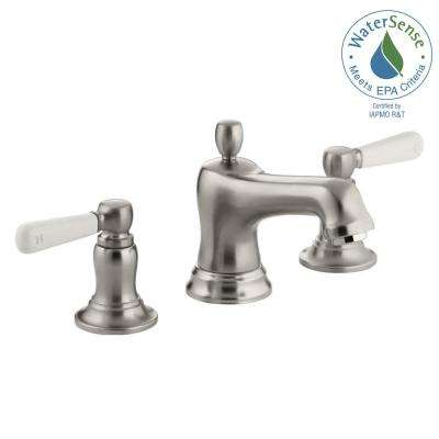 Bancroft 8 in. Widespread 2-Handle Low-Arc Water-Saving Bathroom Faucet in Vibrant Brushed-Nickel