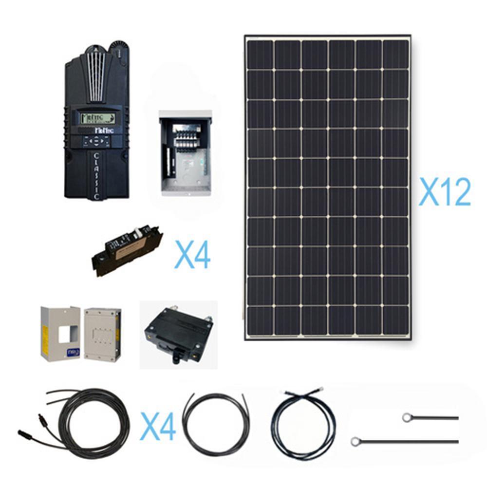 3600-Watt 48-Volt Monocrystalline Solar Cabin Kit for Off-Grid Solar System