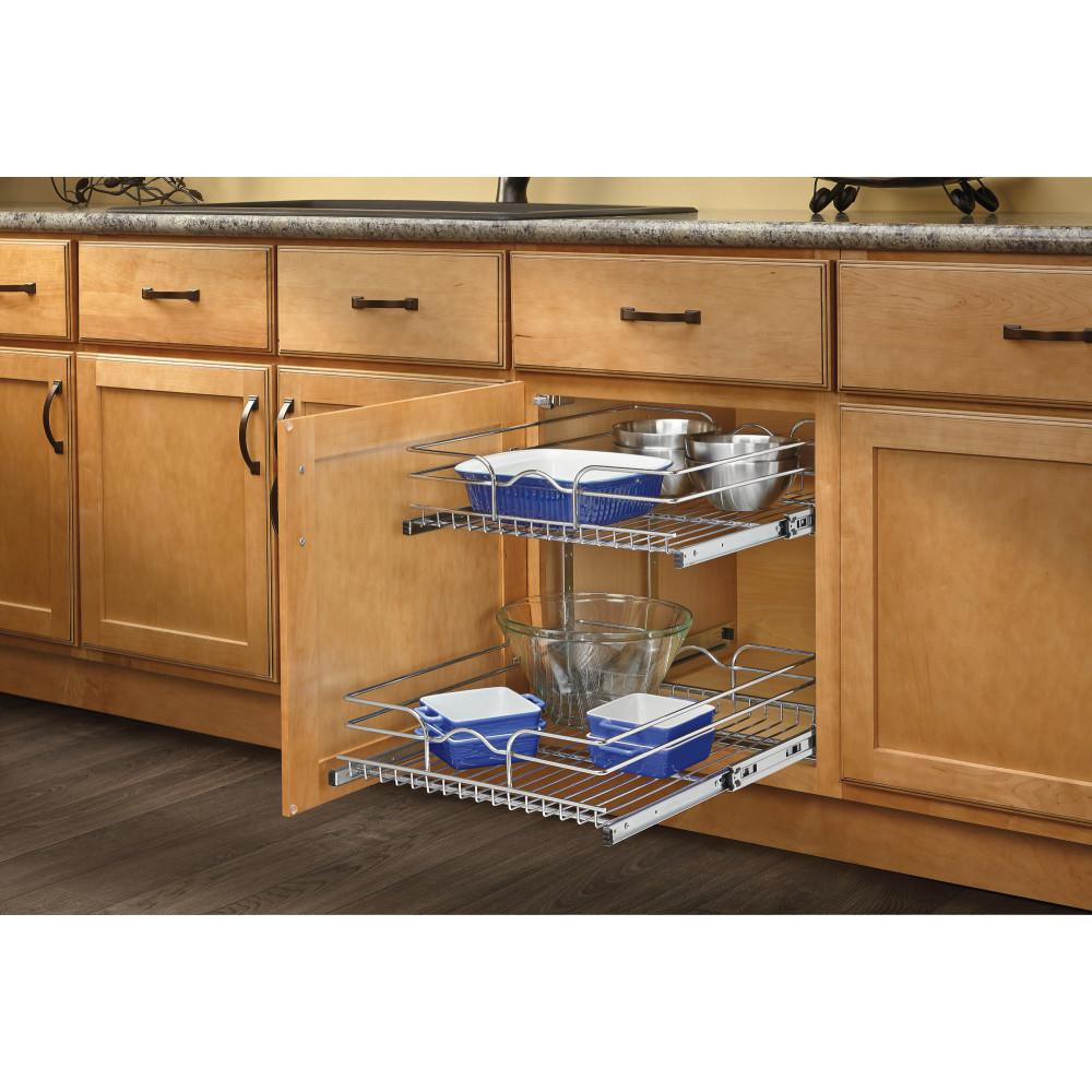 Enjoyable Rev A Shelf 19 In H X 11 75 In W X 22 In D Base Cabinet Pull Out Chrome 2 Tier Wire Basket Home Interior And Landscaping Oversignezvosmurscom