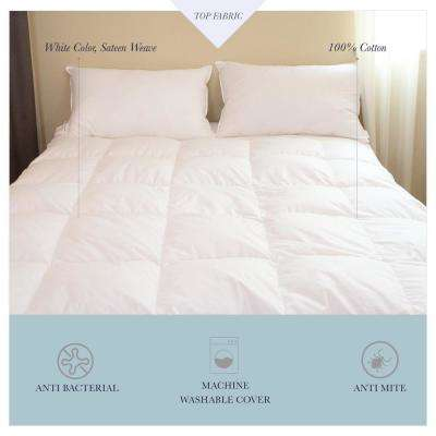 Water Proof Mattress Pad 100% Cotton Down Alternative Mattress Pad with Non Woven Water Proof Bottom Sateen Weave