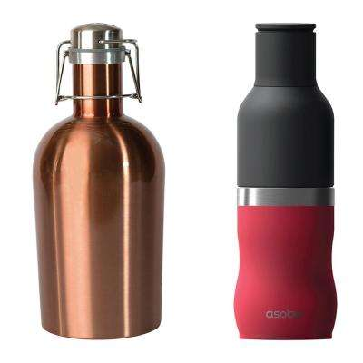 2-Piece 64 oz. Growler and Frosty Stainless Steel Drink Insulated Bottle Holder