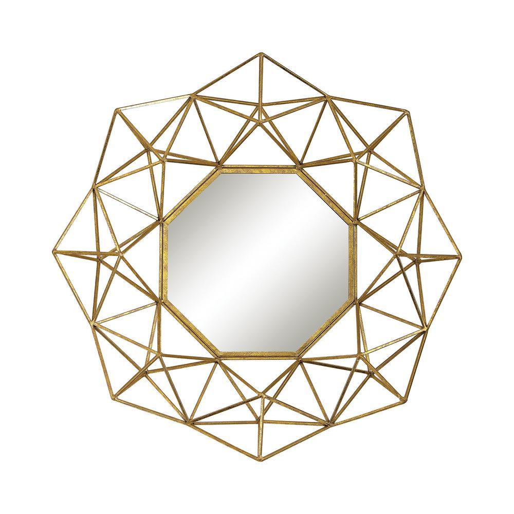 Titan Lighting 31 In Round Geometric Wire Framed Mirror