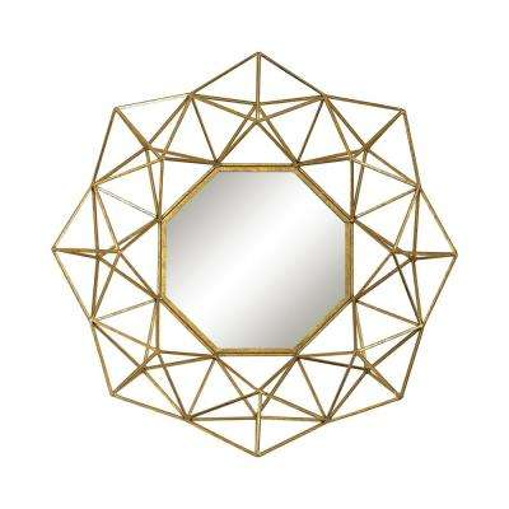 31 in. Round Geometric Wire Framed Mirror