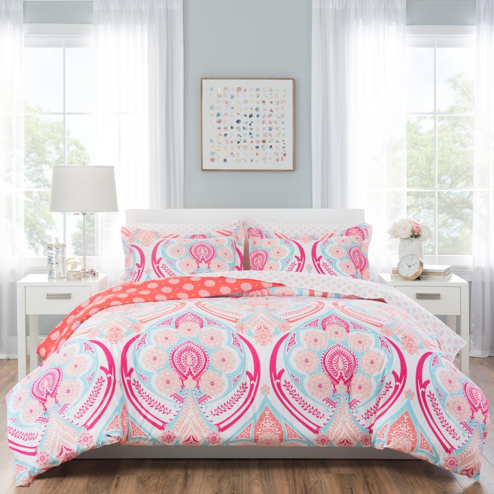 Nicole Miller Kids 7 Piece Queen Pink Medallion Comforter Set Q Isbla 208 The Home Depot