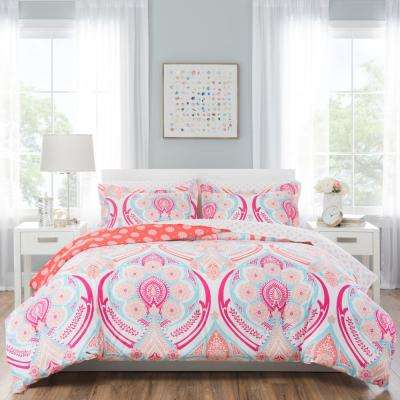 Nicole Miller Kids 7-Piece Queen Pink Medallion Comforter Set