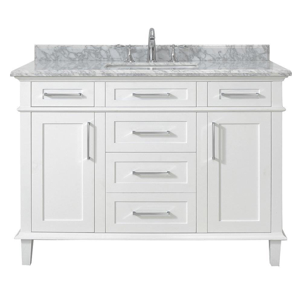 Home Decorators Collection Sonoma 48 in  W x 22 in  D Vanity in White with  Carrara Marble Top with White Sinks