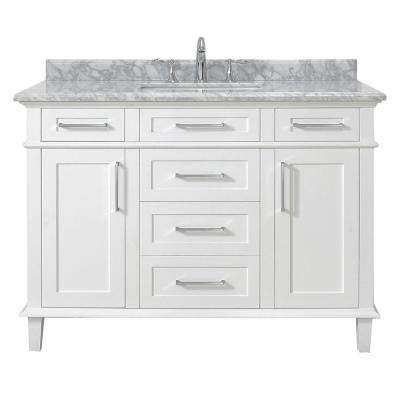Sonoma 48 in. W x 22 in. D Vanity in White with Carrara Marble Top with White Sinks