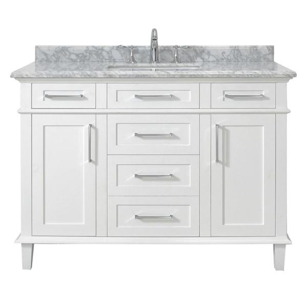 Home Decorators Collection Sonoma 48 In W X 22 In D Vanity In White With Carrara Marble Top With White Sinks Sonoma 48w The Home Depot