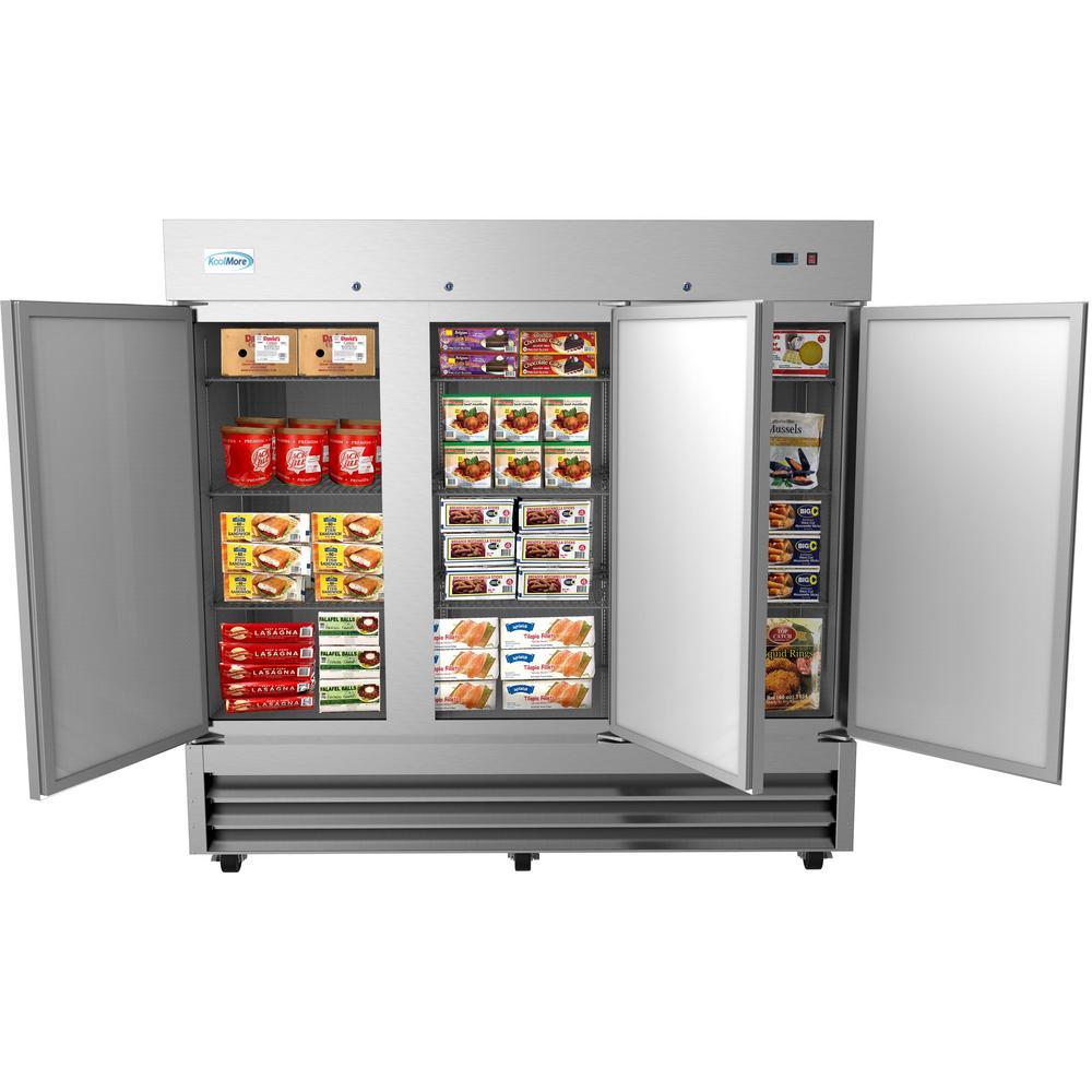 Koolmore 72 cu. ft. Commercial Triple Door Reach in Upright Freezer in Stainless Steel