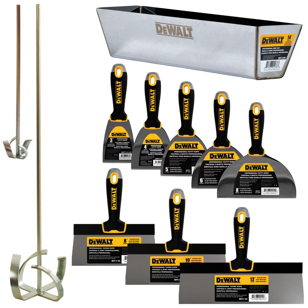 DEWALT Deluxe Stainless Drywall Hand Tool Set with Soft Grip Handles