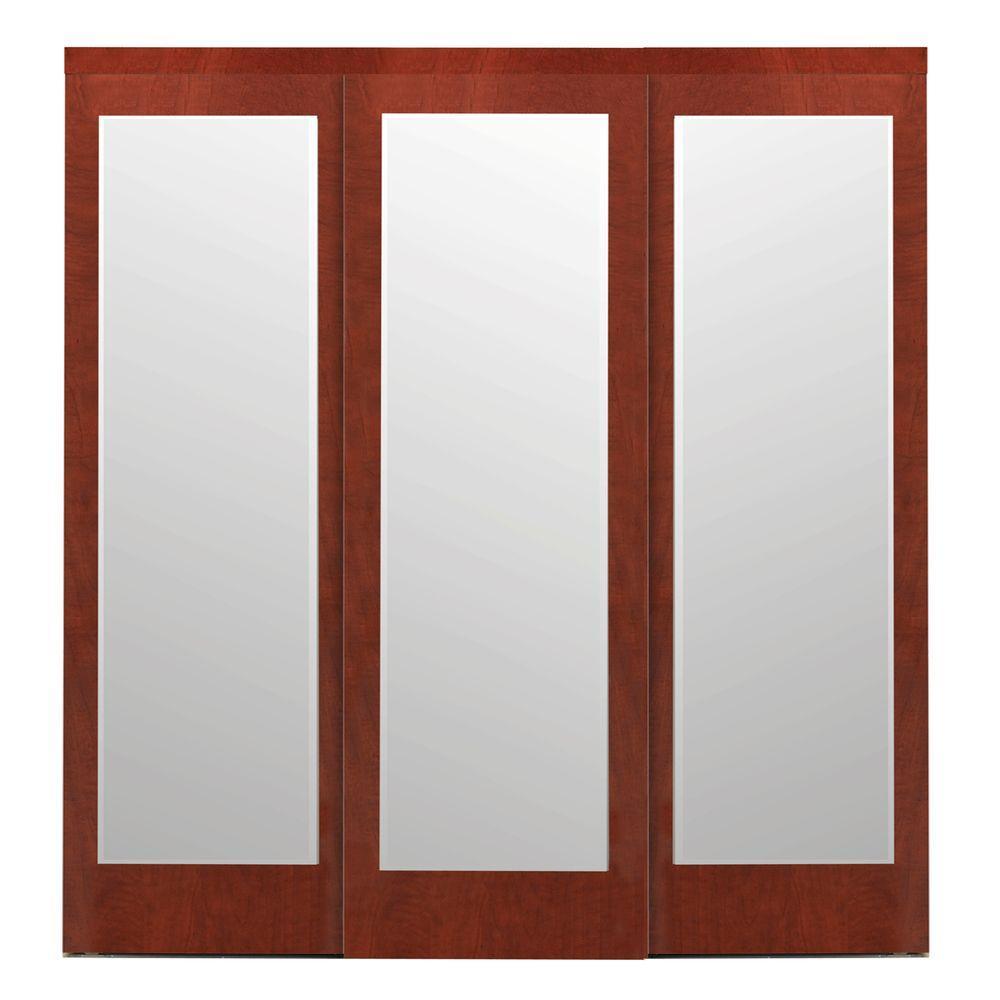 Mir-Mel Espresso Mirror Matching Trim Solid MDF Interior Sliding Door