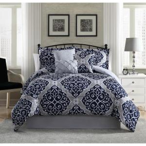 Camille 7-Piece Navy/Grey Full Comforter Set YMZ005932 - The ...