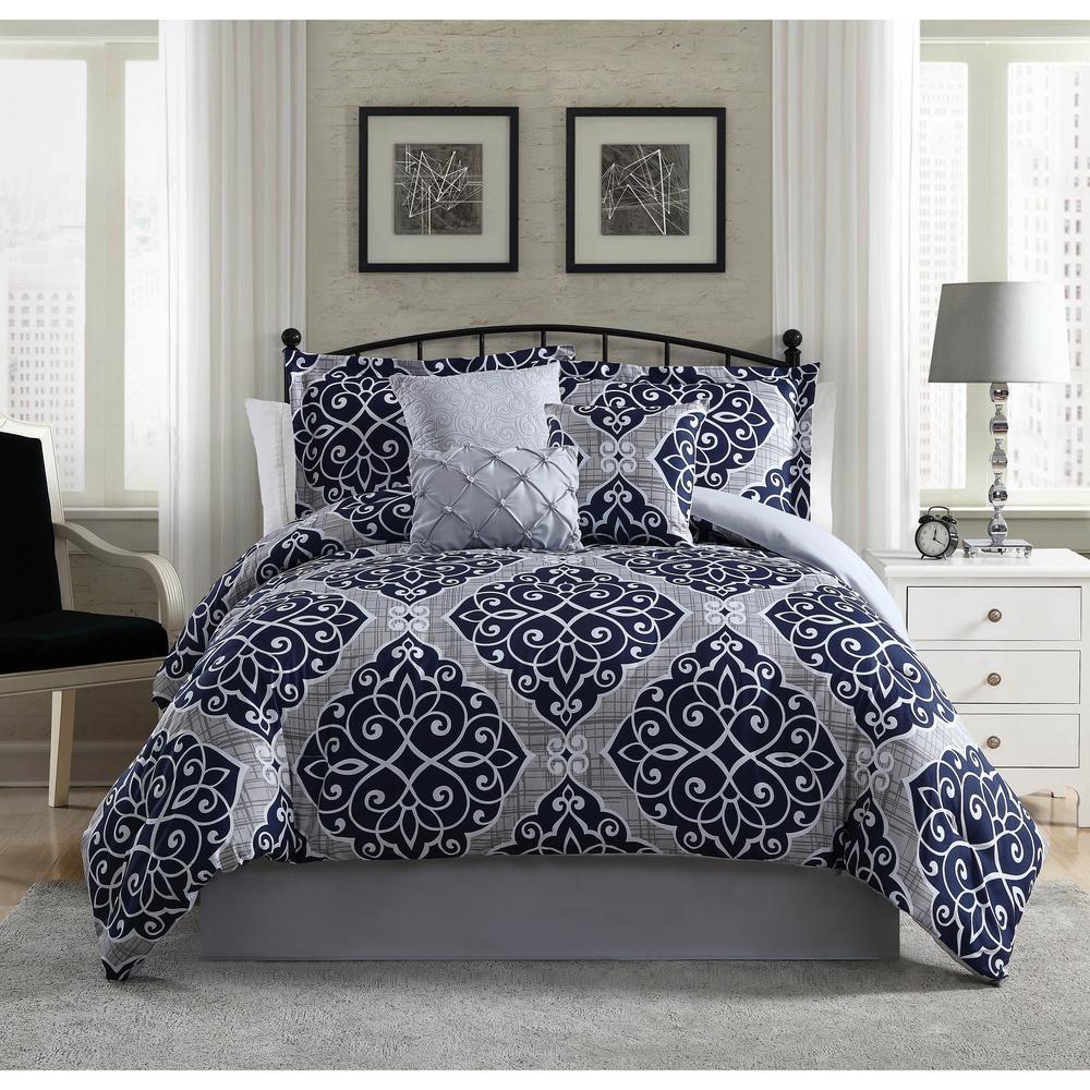 Studio 17 Anson Damask Navy White 5 Piece King Comforter
