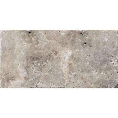 Trav Ancient Tumb Silver 16 in. x 24 in. Travertine Floor or Wall Tile