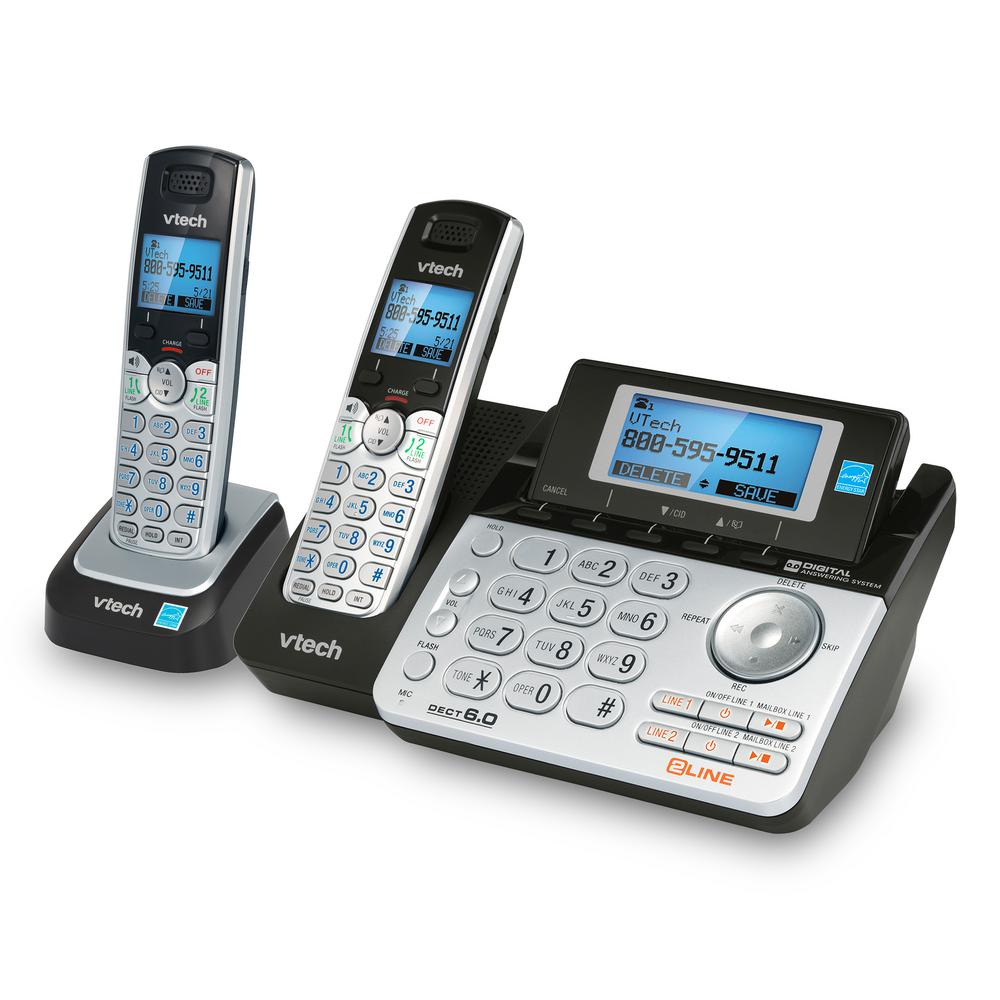 4443bc508cea VTech 2-Handset 2-Line Cordless Phone System Digital Answering System and  Caller ID