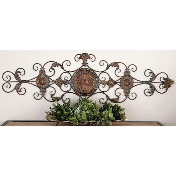Litton Lane Iron Bronze Acanthus Leaf and Scrollwork Wall Decor 42752