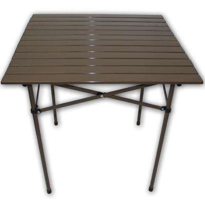 Brown Aluminum Square Outdoor Picnic Table with Bag
