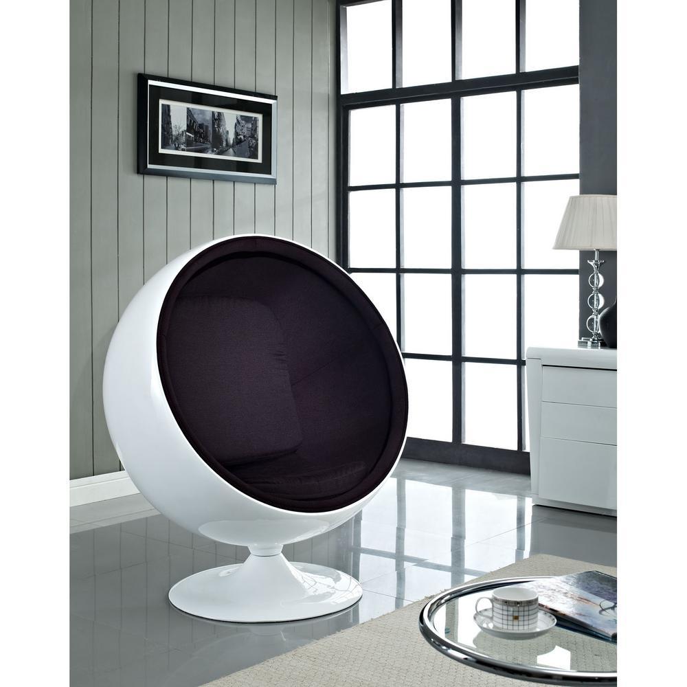Kaddur Black Fiberglass Lounge Chair