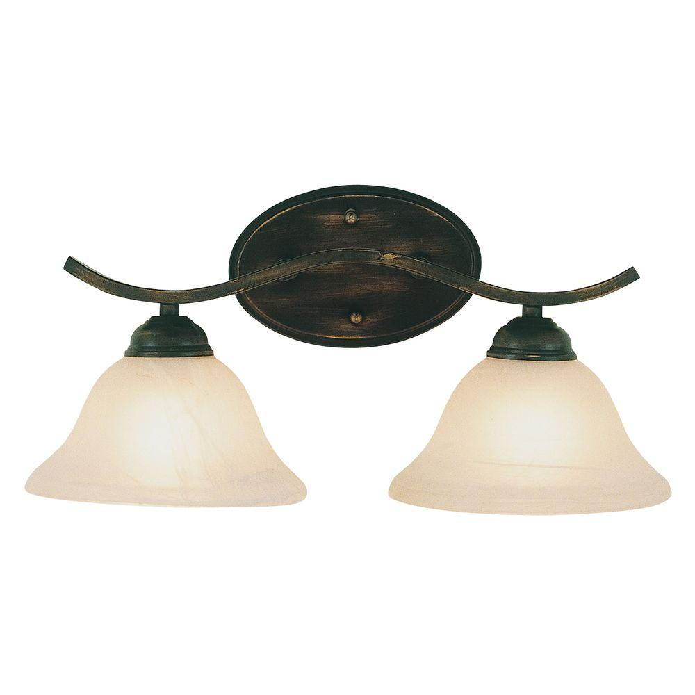Bel Air Lighting Cabernet Collection 2-Light Oiled Bronze Bath Bar Light with Tea Stained Marbleized Shade